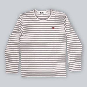 Comme Des Garcons Play Striped T-Shirt in Gray - M